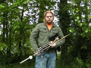 Stephen O'Connor with his Uilleann Pipes.