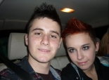 Making funny faces:Paul and Aisling