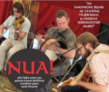 This is NUA's debut recording, featuring all original compositions. NUA is an innovative new trad trio bringing a fresh and unique sound to traditional music, creating their own distinctive flavour with both original and traditional compositions from Ireland and Scotland. Based in Toronto, Canada, NUA consists of three award-winning members: fiddle player James M Law, v guitarist Graeme McGillivray and bodhrán player Jacob McCaule