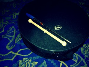 My bodhran and tin whistle.