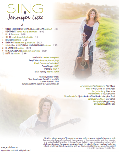 Sing by Jennifer Licko: The Sunny Side of Celtic Music.